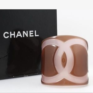 Chanel Resin Cuff Bangle Bracelet CC Translucent